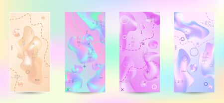 Minimum vector coverage. A set of modern abstract covers. Creative fluid backgrounds from current forms to design a fashionable abstract cover, banner, poster, booklet.