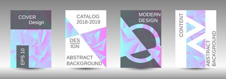 Minimum vector coverage. A set of modern abstract covers. Creative blue triangle element vector. Geometric booklet cover template design. Ilustracja