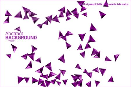 Triangular background. Abstract composition of 3d confetti triangles. Futuristic geometric background. 3D vector illustration. Violet three-dimensional triangle in space. Ilustrace