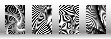 Optical contrast. Set of abstract patterns with distorted lines. Black and white striped psychedelic background. Abstract vector illustration.You can use for design covers, cards,posters. 일러스트