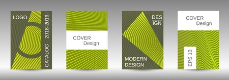 Cover design template set. Abstract cover. Positive design template. Creative backgrounds with abstract gradient linear waves to create a fashionable  banner, poster. Ilustrace