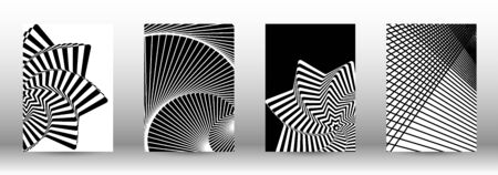 Optical contrast. Set of abstract patterns with distorted lines. Black and white striped psychedelic background. Abstract vector illustration.You can use for design covers, cards,posters. Reklamní fotografie - 138392487