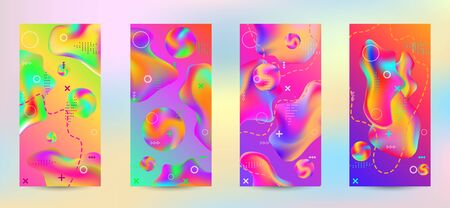 Trendy creative vector space gradient. A set of modern abstract covers. A bright smooth grid is blurred by a futuristic pattern in pink, blue, green, yellow, purple. Ilustrace