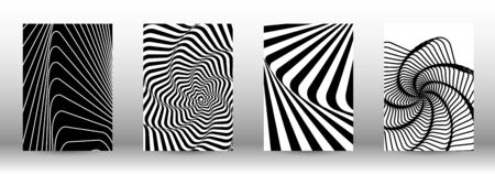 Optical contrast. Set of abstract patterns with distorted lines. Black and white striped psychedelic background. Abstract vector illustration.You can use for design covers, cards,posters. Reklamní fotografie - 138391708