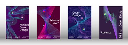 Minimal vector cover design with abstract gradient linear waves. Cover design. A set of modern abstract covers. Minimal vector cover design with abstract lines. Foto de archivo - 138464904