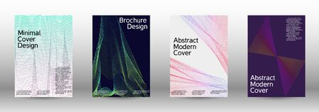 Minimum coverage of a vector. Cover design template set of a with abstract gradient linear waves. Sound flyer for creating a fashionable abstract cover, banner, poster, booklet. Foto de archivo - 138465353