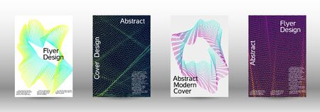 Minimum coverage of a vector. A set of modern abstract backgrounds with abstract gradient linear waves. Sound flyer for creating a fashionable abstract cover, banner, poster, booklet. Foto de archivo - 138465083