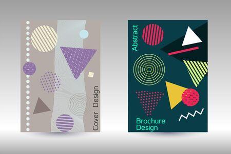 Minimum vector coverage. Modern Memphis background. Artistic geometric cover design. Fashionable cover, banner, poster, booklet. Creative colors backgrounds. Ilustração Vetorial