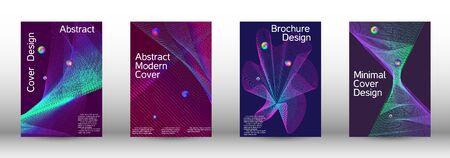 Minimum coverage of the vector. Cover design.  A set of modern abstract oblong objects from vector abstract lines. 일러스트