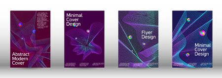 The minimal geometric coverage. Cover design.  A set of modern abstract oblong objects from vector abstract lines. 일러스트