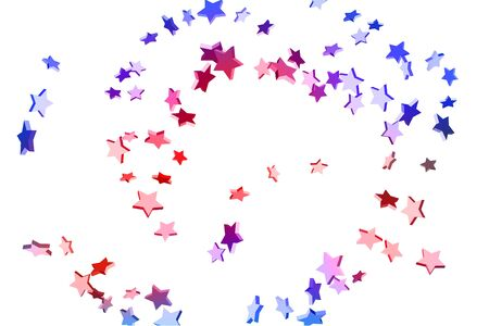 Abstract confetti flying star. Shooting star background. Random stars shine on a white background. White background with blue and red stars. Suitable for your design, cards, invitations, gifts. Foto de archivo - 139785213
