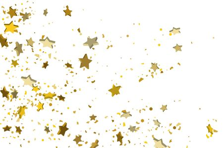 Gold volumetric star-confetti fall on a white background. Illustration of flying shiny stars. Decorative element. Luxury background for your design, cards, invitations, gift, vip. Foto de archivo - 139785427