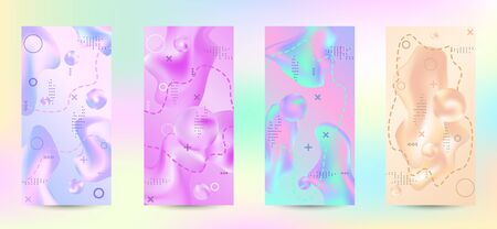Trendy creative vector space gradient. A set of modern abstract covers. Rich design VIP. Future futuristic template with abstract current forms for banner design, poster, booklet, report, magazine.