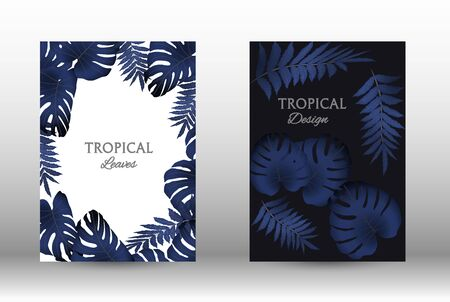 Tropic covers set. Colorful tropical leaves patterns. Exotic botanical design.  Modern Front Page in Vector. Summer vector illustration.
