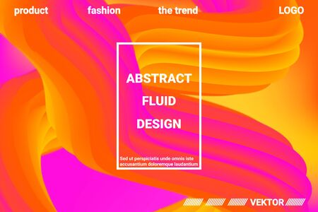 Abstract 3d cover with bright gradient. Abstract liquid fluid color shape. Vibrant Gradient.  Modern graphic texture. Vector 3d illustration. Иллюстрация
