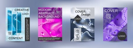 Modern abstract background. A set of modern abstract covers. Colorful rainbow gradient. Smooth banner template. Иллюстрация