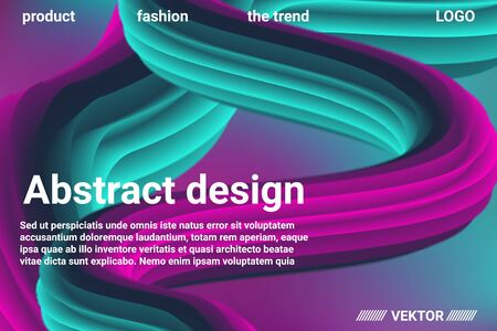 Abstract 3d cover with bright gradient. Abstract liquid fluid color shape. Creative vector concept.  Modern graphic texture. Vector 3d illustration. Illustration