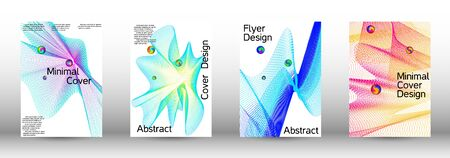 Minimum coverage of a vector. Cover design. A set of modern abstract covers. Minimal vector cover design with abstract lines. Illustration