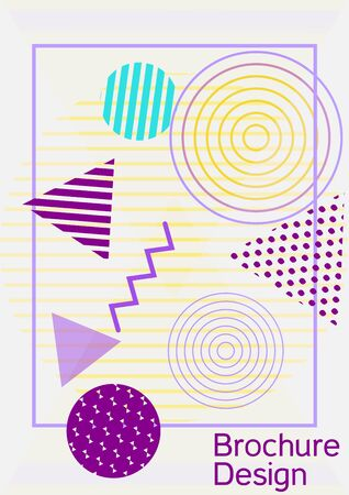 Minimum vector coverage. Abstract background in the style of Memphis. Artistic geometric cover design. Fashionable cover, banner, poster, booklet. Creative colors backgrounds. Vector.