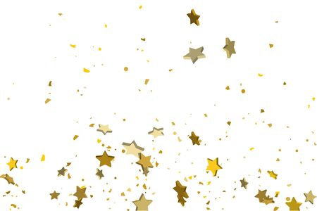 Gold volumetric star-confetti fall on a white background. Illustration of flying shiny stars. Decorative element. Luxury background for your design, cards, invitations, gift, vip.   イラスト・ベクター素材