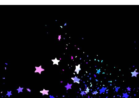Starry Confetti. Shooting star background. Random stars shine on a black background. Dark sky in shining blue, pink, green, purple colors. Suitable for your design, cards, invitations, gifts. Vektorgrafik