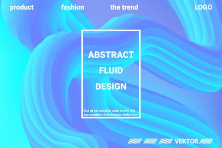 Abstract 3d cover with bright gradient. Abstract liquid fluid color shape. Creative vector concept.  Modern graphic texture. Vector 3d illustration.  イラスト・ベクター素材