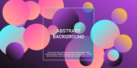 Trendy abstract business card with gradients of balls shapes on background.  Trendy minimal design. Graphic vector art. Abstract geometric background design.