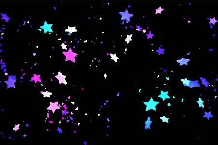 Starry Confetti. Shooting star background. Random stars shine on a black background. Dark sky in shining blue, pink, green, purple colors. Suitable for your design, cards, invitations, gifts.