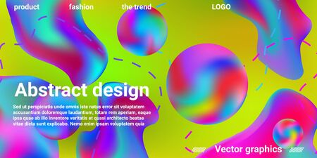 Modern design poster with 3d flow shape. Bright smooth mesh is blurred by a futuristic pattern in pink, blue, green, yellow, purple tones. Gradients waves music background. Illustration