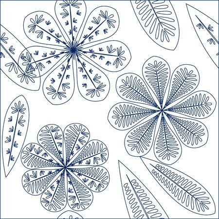 Zentangle abstract flower. Seamless floral wallpaper. Spring decoration. Vector illustration isolated. Abstract vector background.