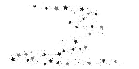 Silver star of confetti. Falling stars on a white background. Illustration of flying shiny stars. Decorative element. Suitable for your design, cards, invitations, gift, vip.