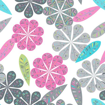 Modern template with seamless floral pattern. Botanical seamless pattern.  Spring decoration. Vector illustration isolated. Abstract vector background. Illustration