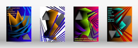 Modern abstract background. A set of modern abstract covers. Trendy cover design of curved lines, geometric shapes. Vector illustration. Illustration
