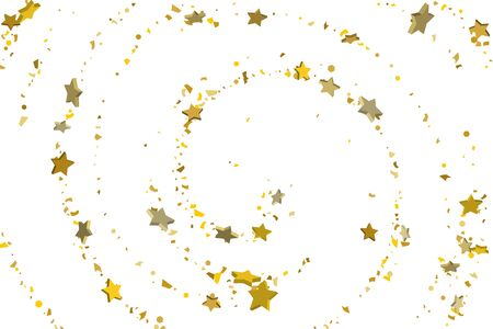 Gold volumetric star-confetti fall on a white background. Illustration of flying shiny stars. Decorative element. Luxury background for your design, cards, invitations, gift, vip.  Illustration
