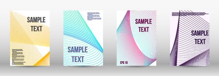 Modern design template. A set of modern abstract oblong objects from vector abstract lines. Wave lines.Striped background.  Trendy geometric patterns. Illustration