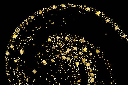 Golden glitter stars confetti. Illustration of a drop of shiny particles. Decorative element. Luxury background for your design, cards, invitations, gift, vip.