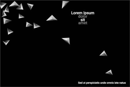 Abstract triangle confetti composition. 3D vector illustration. Futuristic geometric background. Silver three-dimensional geometric triangle in space.