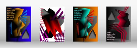 Minimum vector coverage. A set of modern abstract covers. Trendy cover design of curved lines, geometric shapes. Vector illustration.