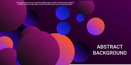Trendy abstract business card with gradients of balls shapes on background.  Trendy minimal design. Graphic vector art. Geometric modern design.