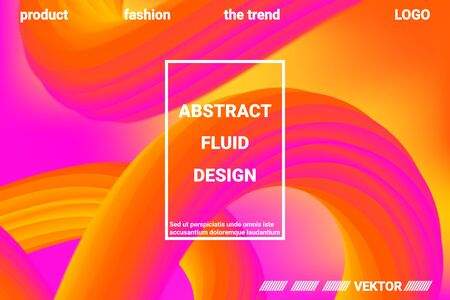 Abstract 3d cover with bright gradient. Abstract liquid fluid color shape. Creative vector concept.  Modern graphic texture. Vector 3d illustration. Ilustracja
