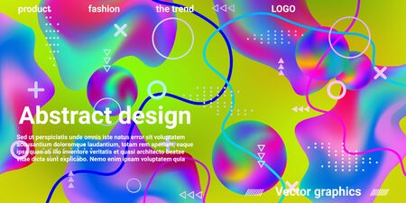 Modern design poster with 3d flow shape. Bright smooth mesh is blurred by a futuristic pattern in pink, blue, green, yellow, purple tones. Gradients waves music background.