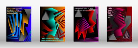 Modern abstract background. A set of modern abstract covers. Trendy cover design of curved lines, geometric shapes. Vector illustration. EPS 10.