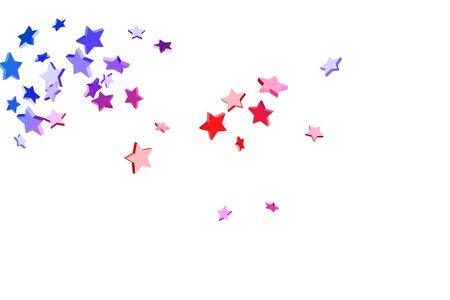 Abstract confetti flying star. Shooting star background. Random stars shine on a white background. White background with blue and red stars. Suitable for your design, cards, invitations, gifts. Ilustracja