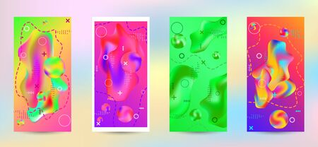 Minimum vector coverage. A set of modern abstract covers. A bright smooth grid is blurred by a futuristic pattern in pink, blue, green, yellow, purple. Ilustracja