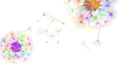 Dandelion background for your design. The wind blows dandelion seeds. Floral background. Advertising flyer brochure. Vector template. Ilustracja