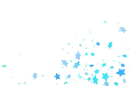 Starry Confetti. Blue random confetti background. Bright design template. Vector pattern with blue stars. Suitable for your design, cards, invitations, gift, VIP. Ilustracja