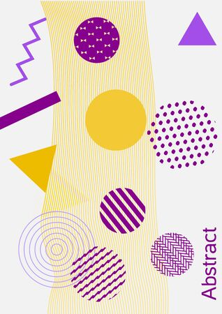 Minimum vector coverage. Abstract background in the style of Memphis.  Artistic geometric cover design. Fashionable  cover, banner, poster, booklet. Creative colors backgrounds.
