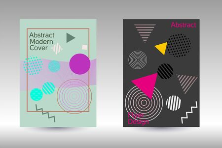Modern design template. Modern Memphis background. Artistic geometric cover design. Fashionable  cover, banner, poster, booklet. Creative colors backgrounds.