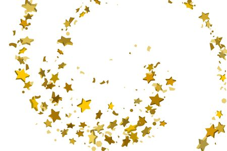 Gold volumetric star-confetti fall on a white background. Illustration of flying shiny stars. Decorative element. Luxury background for your design, cards, invitations, gift, vip.