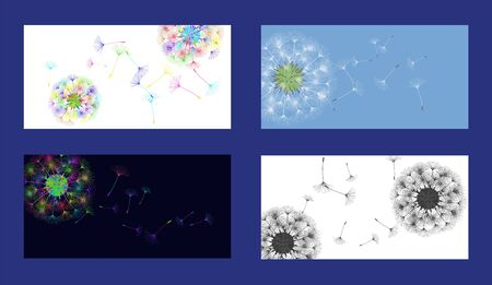 Dandelion background for your design. Set from different four backgrounds. The wind blows dandelion seeds. Natural background. Brochure creative design. Vector template. Ilustracja